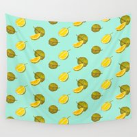 singapore Wall Tapestries featuring Durian II - Singapore Tropical Fruits Series by littleoddforest