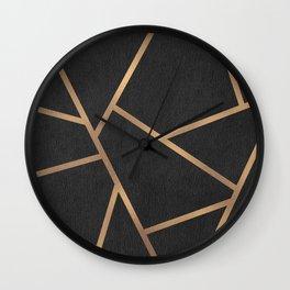 Dark Grey and Gold Textured Fragments - Geometric Design Wall Clock