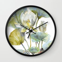Lotus Plant and Fish Zen Design Watercolor Muted Pallet Botanical Art Wall Clock