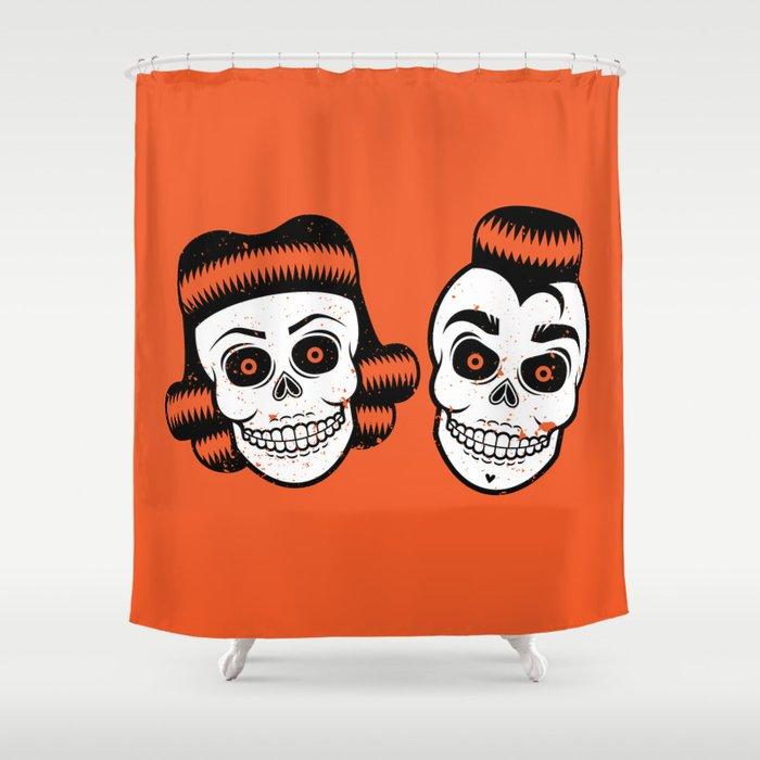 Spooky Rockabilly Skulls Shower Curtain