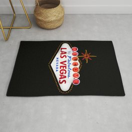 Vintage Welcome to Fabulous Las Vegas Nevada Sign on dark background Rug