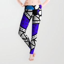 Doodle Art Flower - Pathways - Purple Blue Leggings