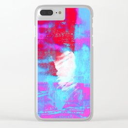abstract blue pink Clear iPhone Case