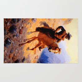 "William Leigh Western Art ""Looking For Strays"" Rug"