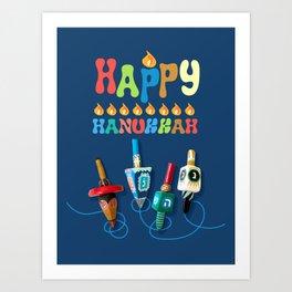 Happy Hanukkah Dreidels Art Print