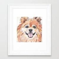 pomeranian Framed Art Prints featuring EVE / Pomeranian.  by ali_grace_gal