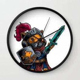 Knight Cat Warrior Shield Sword Cavalier Noble Gift Wall Clock