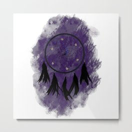 Dreamcatcher crow: Purple background Metal Print