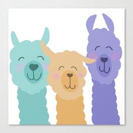 Cute Llama Friends Canvas Print