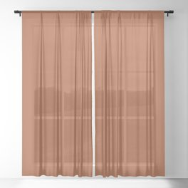 Clay Solid Deep Rich Rust Terracotta Colour Sheer Curtain
