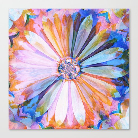 Abstract Colorful Daisy Twilight Canvas Print