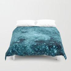Teal Galaxy STars Duvet Cover