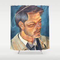 castiel Shower Curtains featuring Castiel  by Lydia Joy Palmer