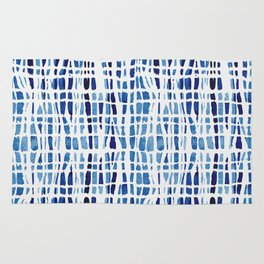 Shibori Braid Vivid Indigo Blue and White Rug
