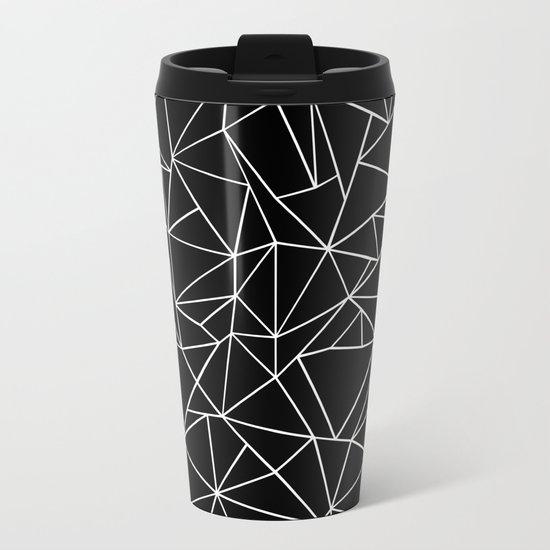 Abstraction Outline Black and White Metal Travel Mug