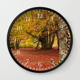 Colorful autumn in the woods of Canfaito park, Italy Wall Clock