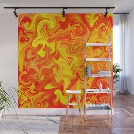 Liquid Hot Lava Marbleized Pattern  Wall Mural