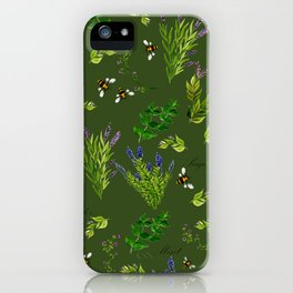 Bees in the Herb Garden iPhone Case