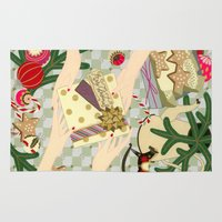 gift card Area & Throw Rugs featuring Merry Christmas gift by Yuliya