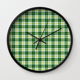 Green and White Plaid Wall Clock