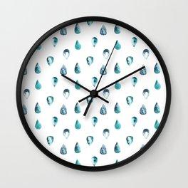 Watercolor Seadrops Wall Clock