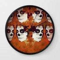 calavera Wall Clocks featuring Calavera by Eveline