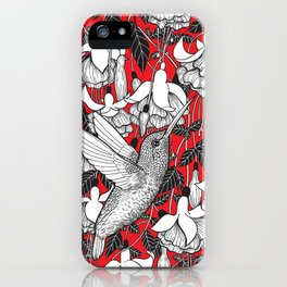 Hummingbird and fuchsia, red background iPhone Case