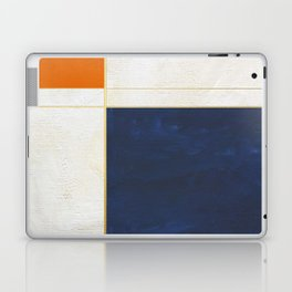 Orange, Blue And White With Golden Lines Abstract Painting Laptop & iPad Skin