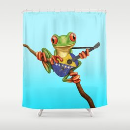 Tree Frog Playing Acoustic Guitar with Flag of Bosnia - Herzegovina Shower Curtain