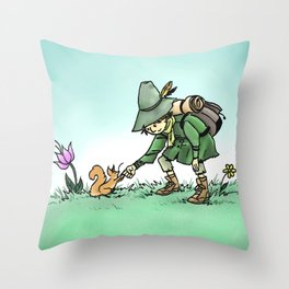 Snufkin and Squirrel Throw Pillow
