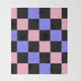 Pink Blue Black CHeckERboarD Throw Blanket