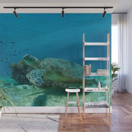 "Turtle saying ""Take my flipper and let us begin our adventure"" Wall Mural"