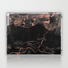 Black Marble and Rose Gold Laptop & iPad Skin