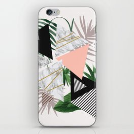 Abstract of geometric patterns with plants and marble iPhone Skin