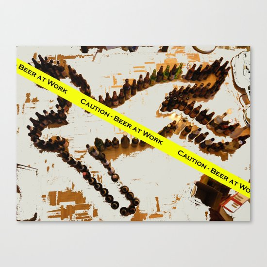 Caution-Beer at Work Canvas Print
