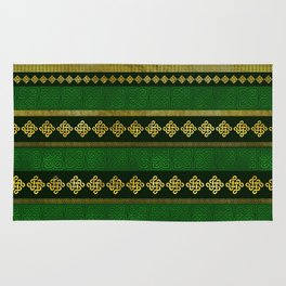 Celtic Knot Decorative Gold and Green pattern Rug