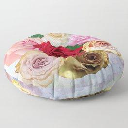 Rose Garden - Floral Spring Summer Roses Design Floor Pillow