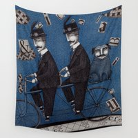 men Wall Tapestries featuring Two Men Travelling by Judith Clay
