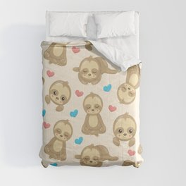 Pattern Of Sloths, Cute Sloths, Hearts Comforters