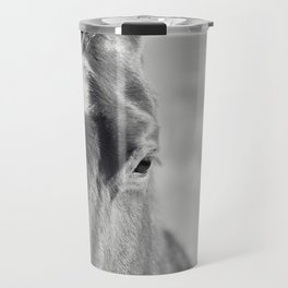 Close Up Horse Picture in Black and White Travel Mug