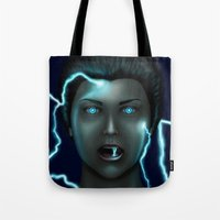 lightning Tote Bags featuring Lightning by Egberto Fuentes
