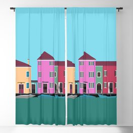 Burano, Italy Travel Poster Block Type Blackout Curtain