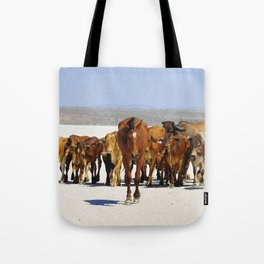Pony leading the mob home Tote Bag