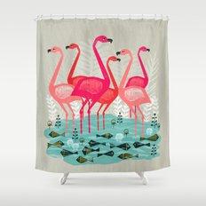 Flamingos by Andrea Lauren  Shower Curtain
