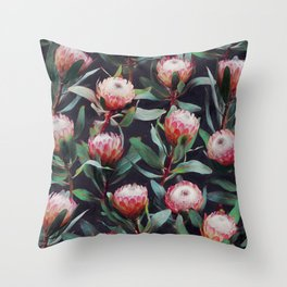 Evening Proteas - Pink on Charcoal Throw Pillow