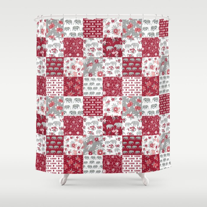 Alabama Bama Crimson Tide Quilt Pattern Florals Football Varsity Alumni Shower Curtain