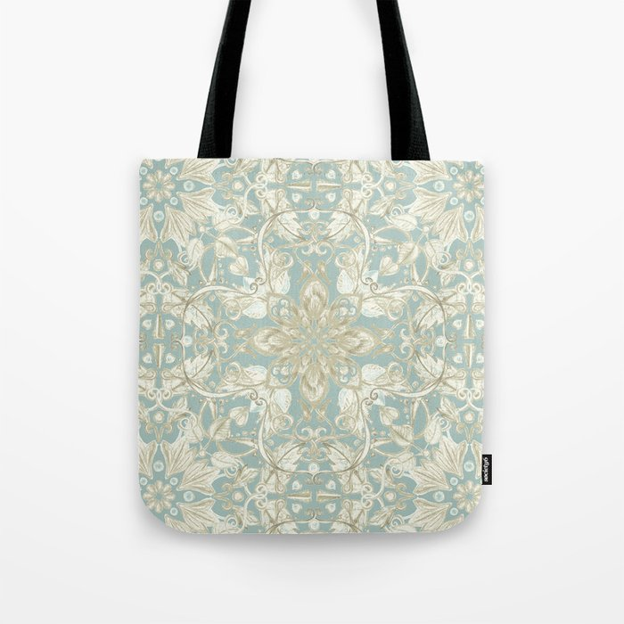Soft Sage & Cream hand drawn floral pattern Tote Bag