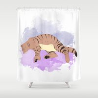 sleeping beauty Shower Curtains featuring Sleeping Beauty by Sarah Bihour