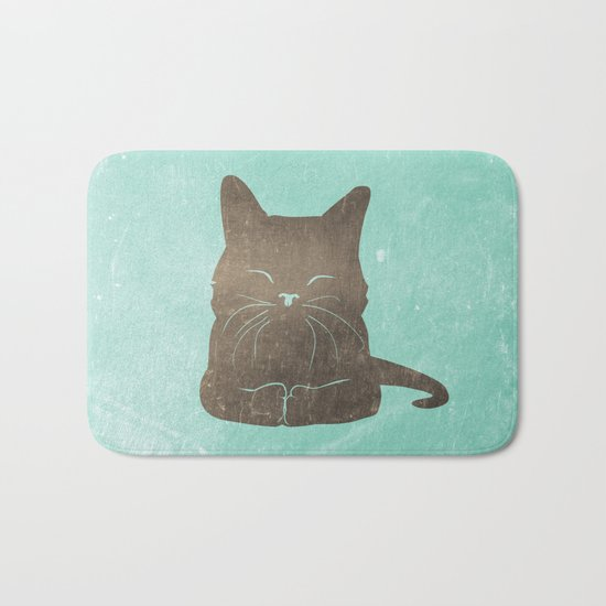 Happy cat illustration in blue and brown Bath Mat