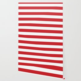 Fire engine red -  solid color - white stripes pattern Wallpaper